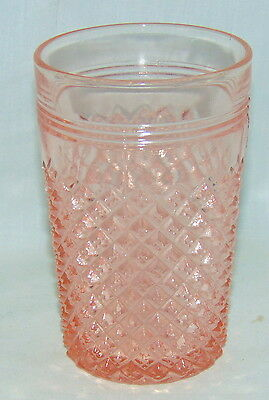 "Anchor Hocking MISS AMERICA PINK *4 1/2""- 10 oz WATER TUMBLER*"
