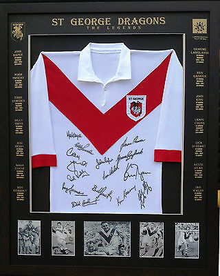 Blazed In Glory - St George Dragons Legends - NRL Signed and Framed Jersey
