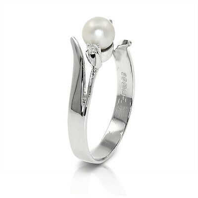 [See Video] 18 CT White Gold Pearl + Diamond Dress Ring (00331)