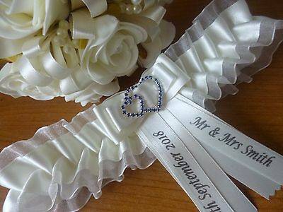 Personalised Wedding Garter Col Ivory Or White With Sapphire Blue Double Heart