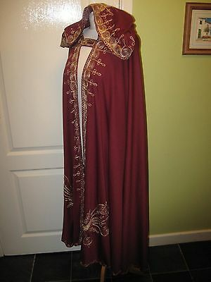 Fancy Dress Unisex Free Size Full Length Hooded Burgundy Cape + Gold Embroidery
