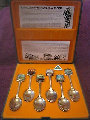 a boxed set of 6 silver plated australian souvenir spoons