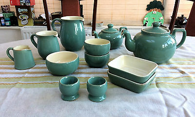 VINTAGE Denby Kitchenware Breakfast Set - Green/Blue