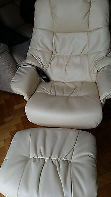 Cream Faux leather armchair and stool with heat and vibrate functions