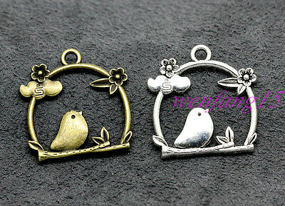 pendant Tibetan silveR luck  Caged bird  Jewelry Necklace 5-50pcs 26x25mm 3g