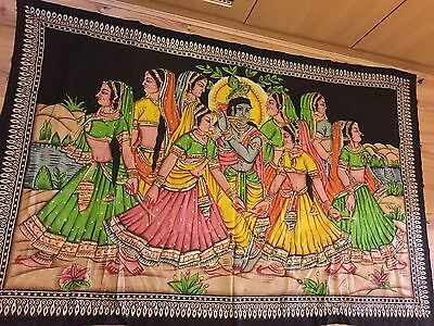 INDIAN FABRIC PAINTING OF RADHA KRISHNA Hindu Artwork Hand Painted Large