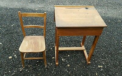 Antique vintage school desk and chair solid old wood lovley patina