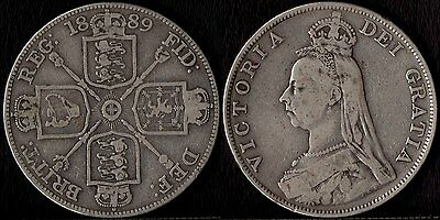 narkypoon's STRONG MIDDLE GRADE 1889 Victoria 925 STERLING SILVER Double Florin