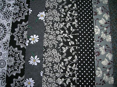 """8 Jelly Roll Strips Black/grey   44"""" X 2.5""""  100% Cotton Patchwork/quilting Aucw"""