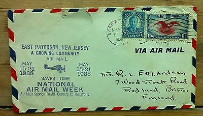 USA 1938 National Air Mail Week cover E Paterson NJ 5c & 6c stamps