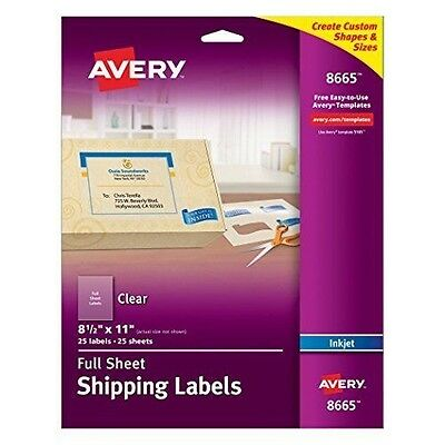 Avery Clear Full-Sheet Labels, Inkjet Printers, 8.5 x 11 Inches, Pack of 25 New