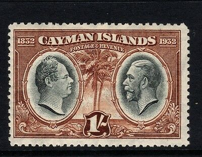 Cayman Islands stamps - Sg92, 1s black & brown - mounted mint