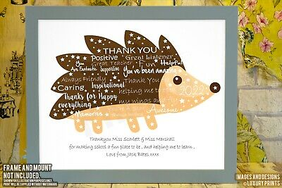 Personalised Hedgehog Teacher Thank You Picture Print Gift Nursery Present