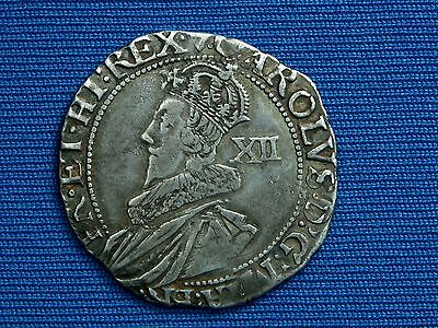 Charles I Shilling - Group B - Type 1b2 - mm heart - plume above shield