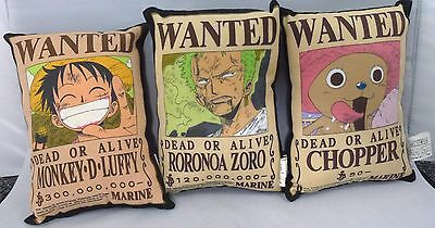 3 Japanese anime One Piece licensed cushions, Japan import, wanted poster (P876)