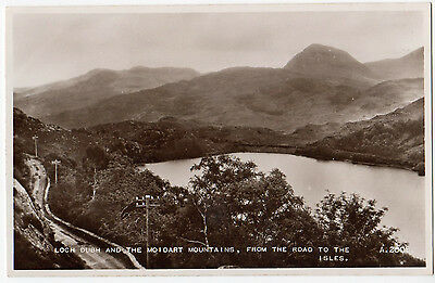 LOCH DUBH AND THE MO I DART MOUNTAINS ~ A VINTAGE RP POSTCARD by VALENTINES (J2)