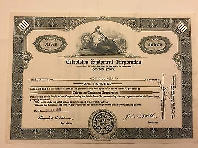 1951 Television Equipment Corporation Stock Certificate Early TV Company