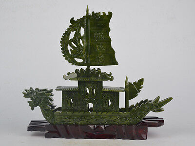 28 cm, 0.8 Kg, big old Chinese hetian jade hand-carved Dragon Boat statue