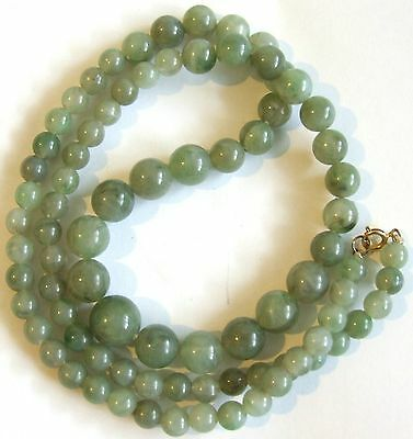 Vintage 1960s Retro Long Graduated Faux Jade Lucite Beaded NECKLACE