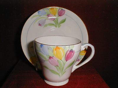 Grafton China Demitasse Expresso Coffee Cup & Saucer Duo Crocus Floral Demi 30's