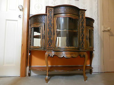 Antique Carved Wood French Chiffonier Display Cabinet, Glasgow