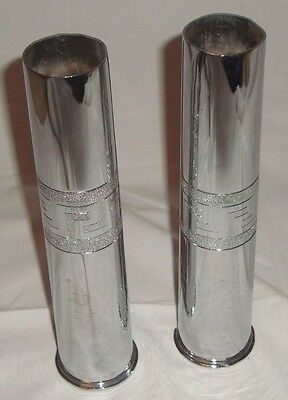 WWII 1942 lot of 2 stunning military trench artnickel plated brass shell vases