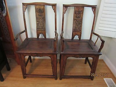 Antique Yoke Back Chinese Arm Chairs mid 1800s-Beautiful Carving, Excellent Cond