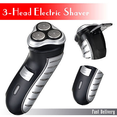 Mens Electric Shaver Cordless Rechargeable 3 Heads & Pouch [246