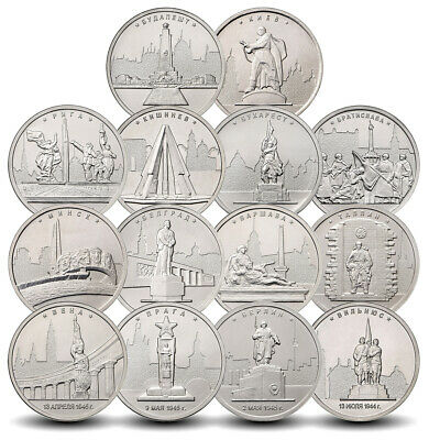 Coins Russia 5 rubles the Capital city of the liberated States 14 coins 2016 UNC