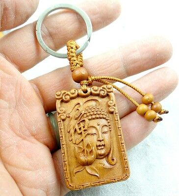 45*29MM Hand-carved Guanyin Wooden Crafts, Key Chain, Key Ring