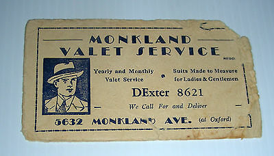 vintage MONKLAND VALET SERVICE ad blotter Montreal Canada early century