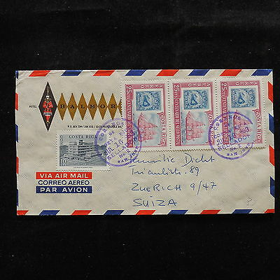 WS-A468 COSTA RICA - Ships, Stamp On Stamp Airmail 1963 To Switzerland Cover