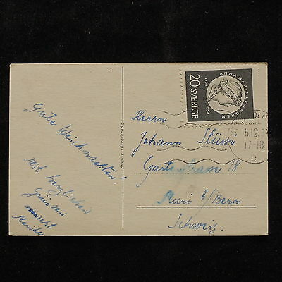 WS-A605 SWEDEN - Christmas, 1954 Single Franking Postcard Cover