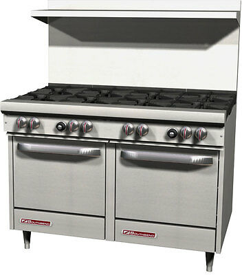"""Southbend S48EE 48"""" S-Series Range w/ 8 Burners & 2 Space Saver Ovens"""