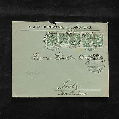 WS-B062 FINLAND - Russia, 1910 2K. Strip Of 5 To Germany Cover