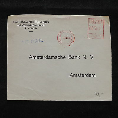 WS-B077 ICELAND - Meter Stamp, 1961 To Netherlands Amsterdam Red Cancel Cover