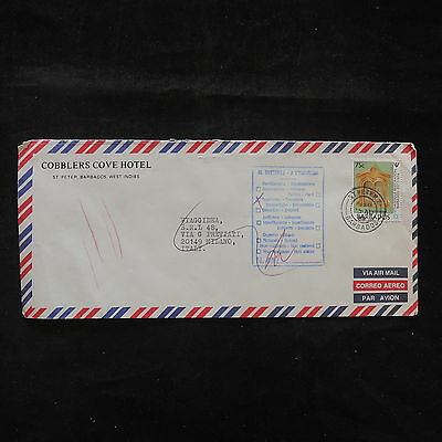 WS-B109 BARBADOS IND - Rts, Return To Sender Italy Milano 1988 Cover