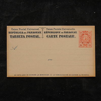 WS-B189 PARAGUAY - Postcard, Mint Red And Black 2 Centavos Cover