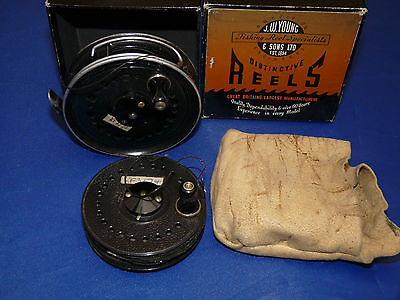 superb JW Young Beaudex vintage fly fishing reel & spare spool & box
