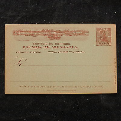 WS-B203 NICARAGUA - Postcard, Mint 3 Centavos, Brown On Light Green Cover