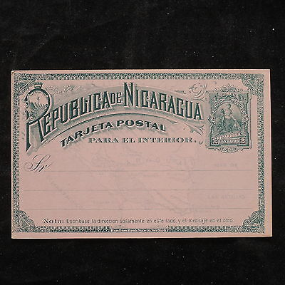 WS-B207 NICARAGUA - Postcard, Mint Upu 1891, 2 Centavos, Map Green On Rose Cover