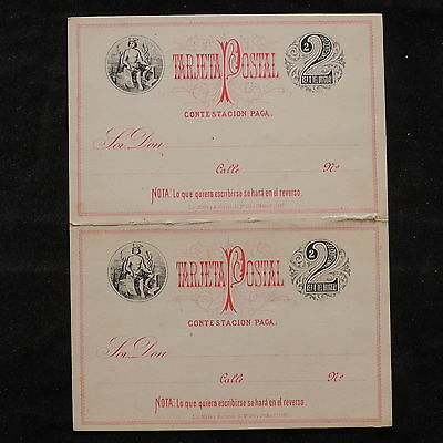 WS-B226 DOMINICAN REP. - Postcard, Mint 2 Centavos With Reply Red & Black Cover