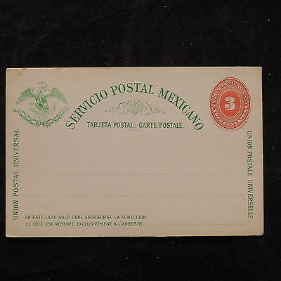 WS-B229 MEXICO - Postcard, Mint 3 Centavos Green And Red Brow Cover