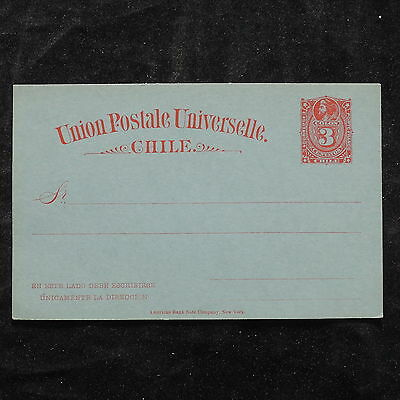 WS-B233 CHILE - Postcard, Mint 3 Centavos Red On Light Blue, Columbus Cover
