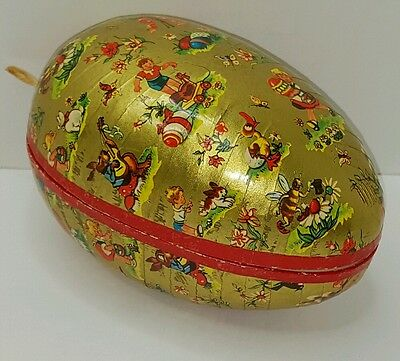 Vintage German Paper Mache Candy Container Lithograph Large Egg
