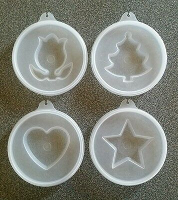 Lot of 4 Vintage Tupperware Jel N Serve Jello Lid / Tulip, Heart, Star, Tree