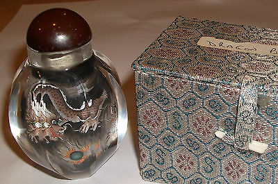 Antique inside painting crystal craft snuff bottle of a Dragon Chinese Art