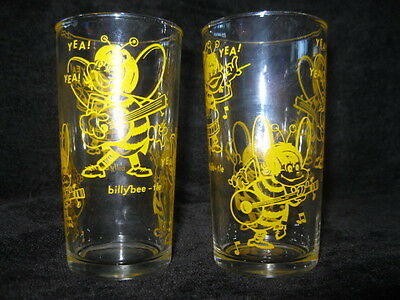 Billy Bee-Tle Vintage Juice Glass Cartoon Band In Yellow Circa 1964 Set Of 2