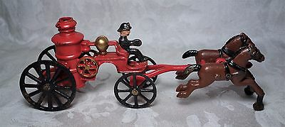 Vintage Cast Iron Toy Horse Drawn Fire Pump Truck with Driver Wagon