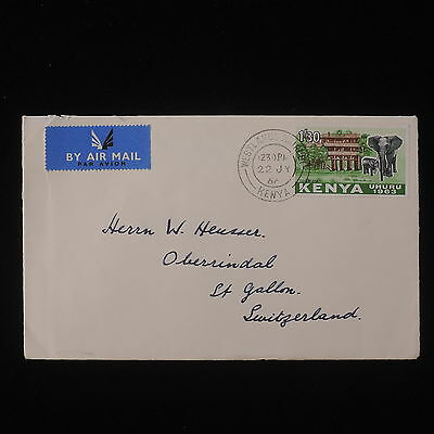 WS-D998 KENYA - Wild Animals, Elephant, 1/30 1966 Nairobi To Switzerland Cover